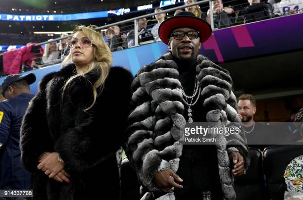 Boxer Floyd Mayweather Jr looks on during Super Bowl LII between the New England Patriots and the Philadelphia Eagles at US Bank Stadium on February...