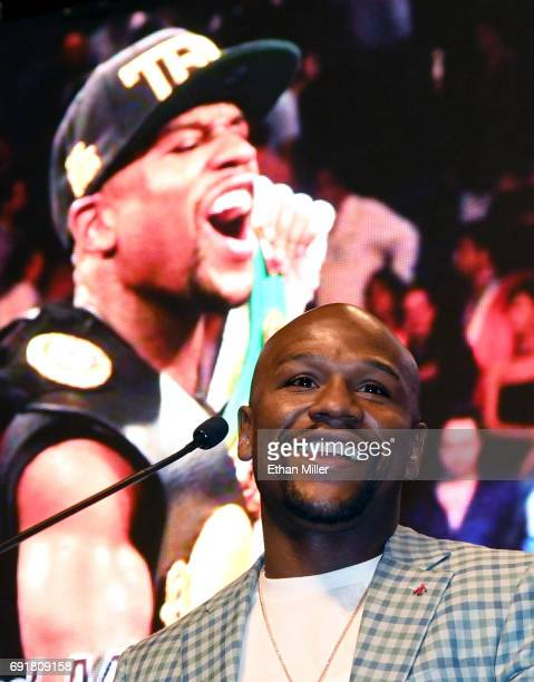 Boxer Floyd Mayweather Jr speaks as he is inducted into the Southern Nevada Sports Hall of Fame at the Orleans Arena on June 2 2017 in Las Vegas...