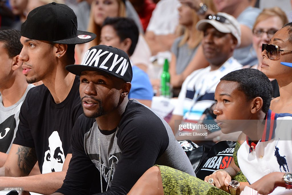 Boxer Floyd Mayweather Jr. watches the Las Vegas Summer League Championship between the Phoenix Suns and San Antonio Spurs on July 20, 2015 at the Thomas & Mack Center in Las Vegas, Nevada.