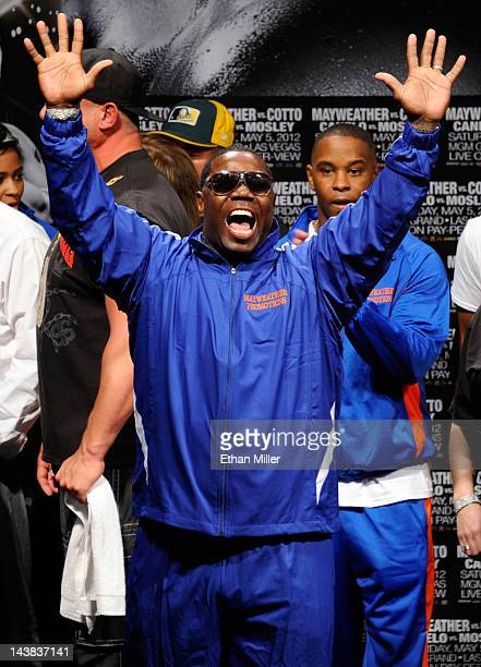 Boxer Floyd Mayweather Jr's cotrainer Nate Jones reacts during the official weighin for Mayweather's bout against WBA super welterweight champion...