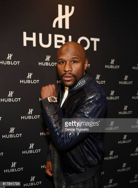 Boxer Floyd Mayweather reveals a limited edition watch at Hublot at the Shops at Crystals on February 10 2018 in Las Vegas Nevada