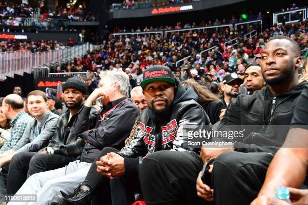 Boxer Floyd Mayweather sits court side during Milwaukee Bucks v Atlanta Hawks game on December 27, 2019 at State Farm Arena in Atlanta, Georgia. NOTE...
