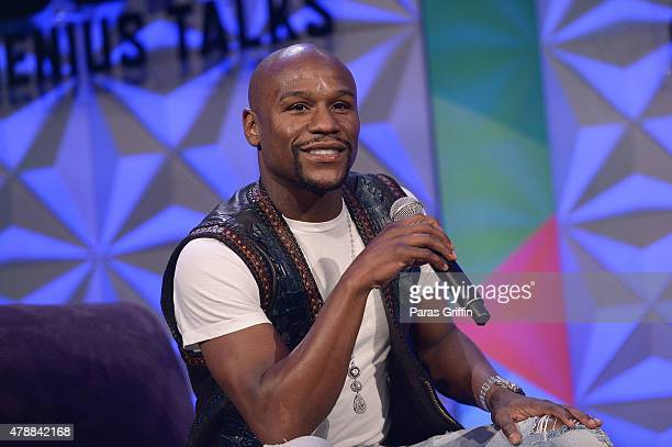 Boxer Floyd Mayweather speak onstage at Genius Talks during the 2015 BET Experience at the Los Angeles Convention Center on June 27 2015 in Los...