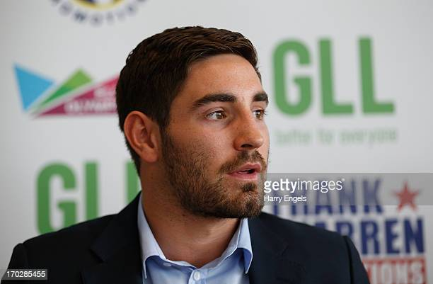 Boxer Frank Buglioni speaks during a press conference with boxing promoter Frank Warren at the London Legacy Development Corporation on June 10 2013...