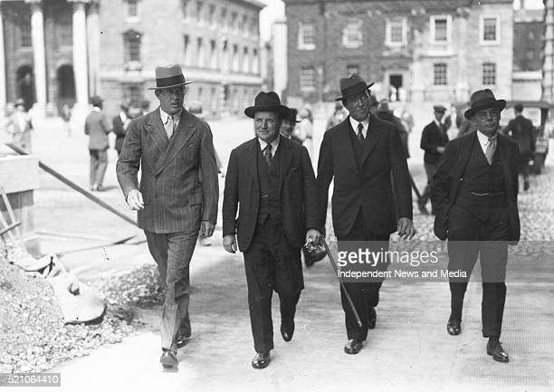H935 Boxer Gene Tunney in Dublin Walking with group August 1928 He visited the Book of Kells