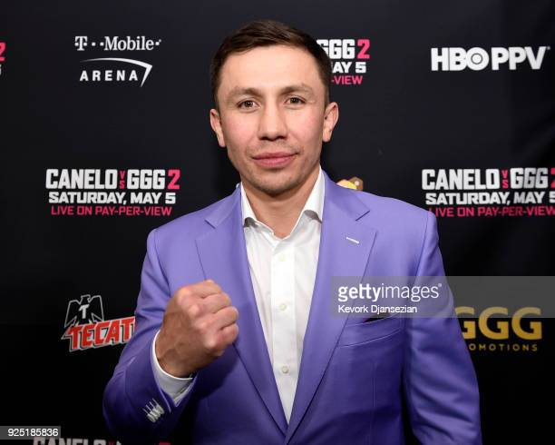 Boxer Gennady Golovkin poses during a news conference at Microsoft Theater at LA Live to announce the upcoming rematch against Canelo Alvarez on...