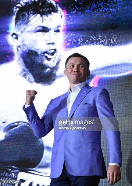 Boxer Gennady Golovkin reacts after he introduced during a fan event with Canelo Alvarez to announce their rematch during a news conference at...