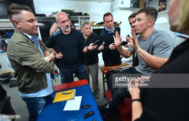 Boxer Gennady Golovkin responds to questions during a a media workout on March 20 2018 in Big Bear California ahead of his fight against Canelo...