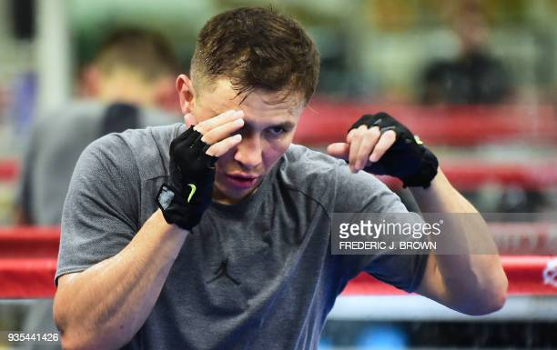 TOPSHOT Boxer Gennady Golovkin shadow boxes during a media workout on March 20 2018 in Big Bear California ahead of his fight against Canelo Alvarez...