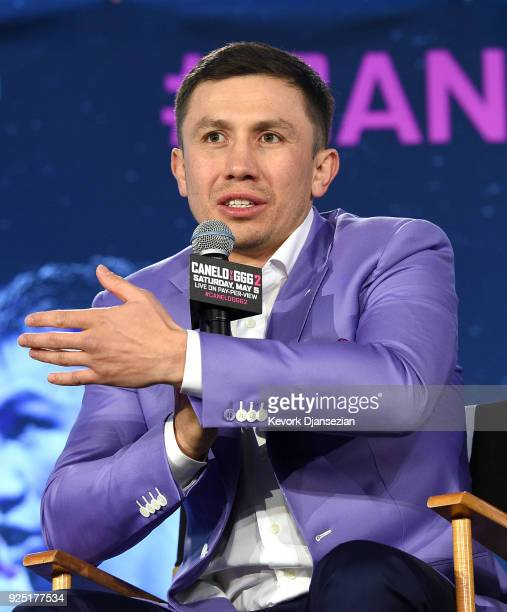 Boxer Gennady Golovkin speaks during a news conference with Canelo Alvarez to announce their rematch during a news conference at Microsoft Theater at...