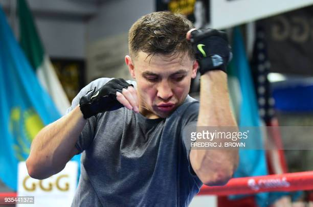 Boxer Gennady Golovkin works out during a media event on March 20, 2018 in Big Bear, California, ahead of his fight against Canelo Alvarez in Las...