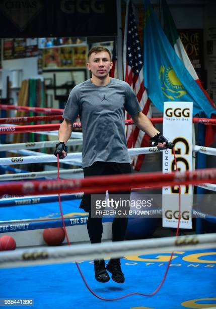 Boxer Gennady Golovkin works out during a media event on March 20 2018 in Big Bear California ahead of his fight against Canelo Alvarez in Las Vegas...