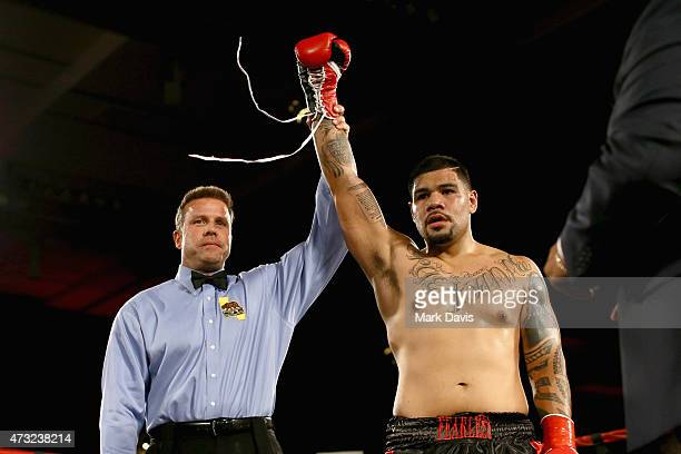 Boxer George Faavae celebrates his win during the B Riley Co And Sugar Ray Leonard Foundation's 6th Annual Big Fighters Big Cause Charity Boxing...