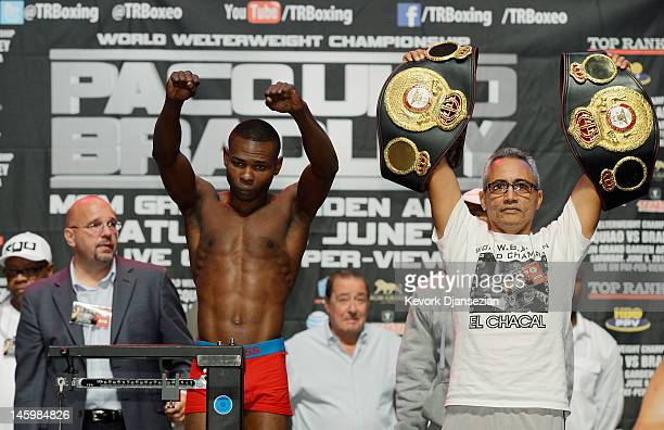 Boxer Guillermo Rigondeaux poses during the official weighin for his bout at the MGM Grand Garden Arena on June 8 2012 in Las Vegas Nevada Rigondeaux...