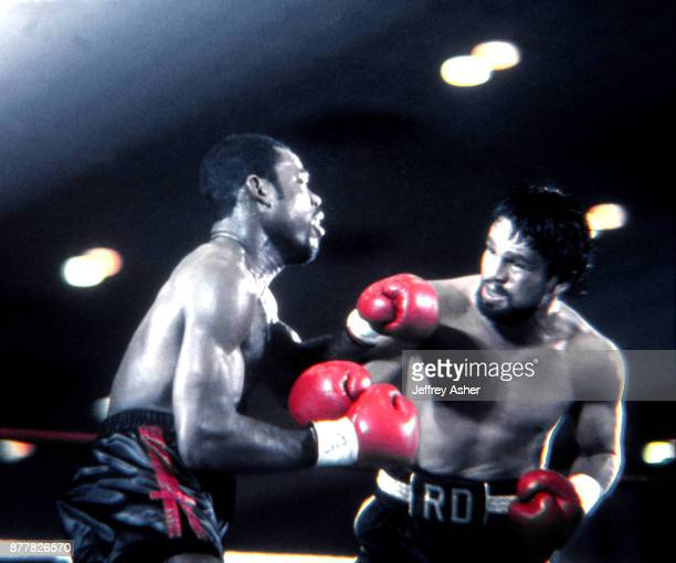 Boxer Iran Barkley vs World Champion Boxer Robert Duran at Trump Plaza Casino Hotel in Atlantic City New Jersey February 24 1989