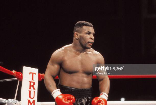 Boxer Iron Mike Tyson in his prime at Tyson vs Holmes Convention Hall in Atlantic City, New Jersey January 22 1988.