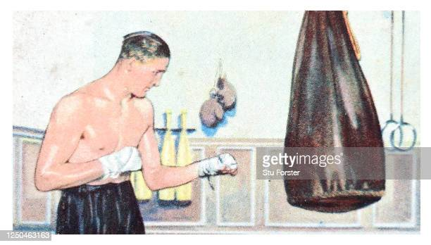 Boxer Jack Petersen illustrated on a Champion series Gallaher Tobacco Cigarette Card from 1934.