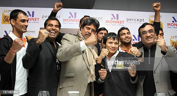 Boxer Jai Bhagwan Shailendra Singh MD Percept LTD Kapil Dev former Cricket team captain Boxer Laishram Devendro Singh and Sports Minister Ajay Maken...
