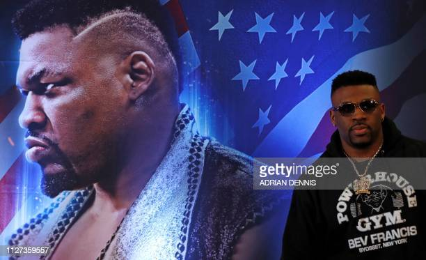 US boxer Jarrell Miller attends a press conference in London on February 25 ahead of his forthcoming IBF WBA and WBO heavyweight boxing match against...