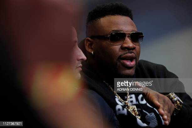 US boxer Jarrell Miller speaks during a press conference in London on February 25 ahead of his forthcoming IBF WBA and WBO heavyweight title boxing...