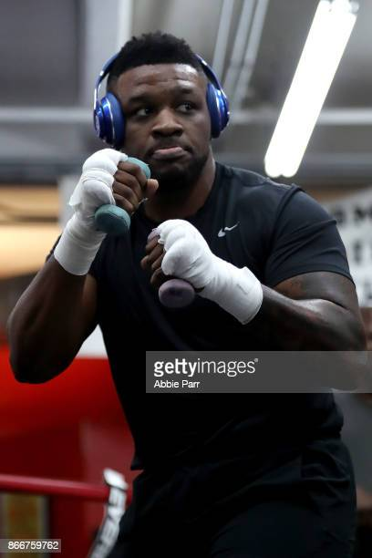 Boxer Jarrell Miller works out during the Brooklyn Media Day at Gleason's Gym on October 26 2017 in the Brooklyn borough of New York City