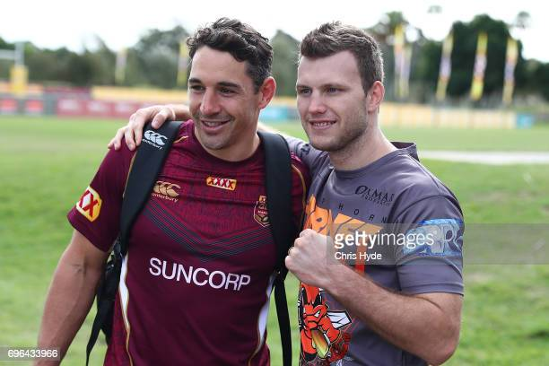 Boxer Jeff Horn poses with Billy Slater during a visit to the Queensland Maroons State of Origin team during a training session at Intercontinental...