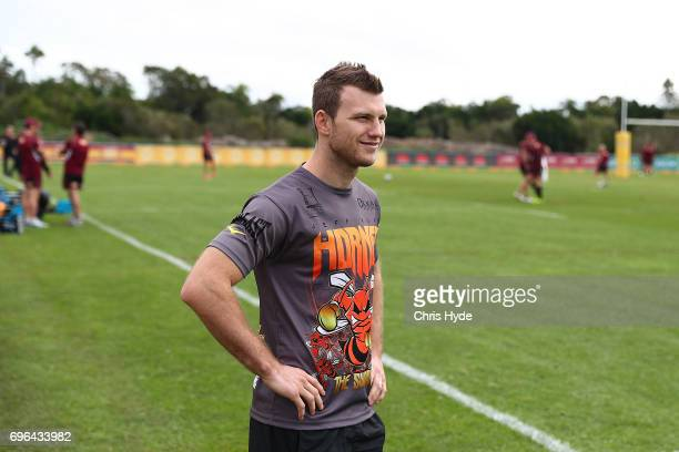 Boxer Jeff Horn visits the Queensland Maroons State of Origin team during a training session at Intercontinental Sanctuary Cove Resort on June 16...
