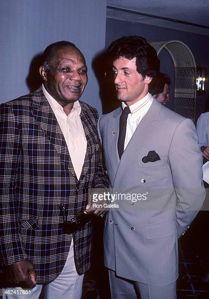 Boxer Jersey Joe Walcott and actor Sylvester Stallone attend Lee Canalito and Curtis Whitner Press Conference/WeighIn for Heavyweight Boxing Match on...