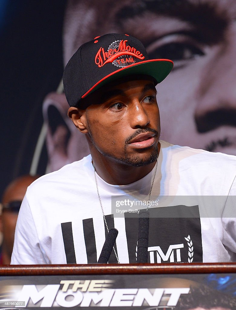 Boxer J'Leon Love speaks onstage during the undercard final press conference at the MGM Grand Hotel/Casino on May 1, 2014 in Las Vegas, Nevada.