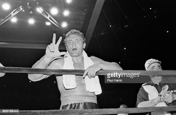 Boxer Joe Bugner after his fight against Gilberto Acuna which he one with a TKO August 23 1980 at Inglewood Los Angeles California