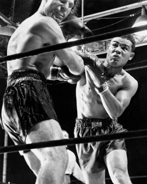Boxer Joe Louis lands punch on Lou Nova ending boxing match