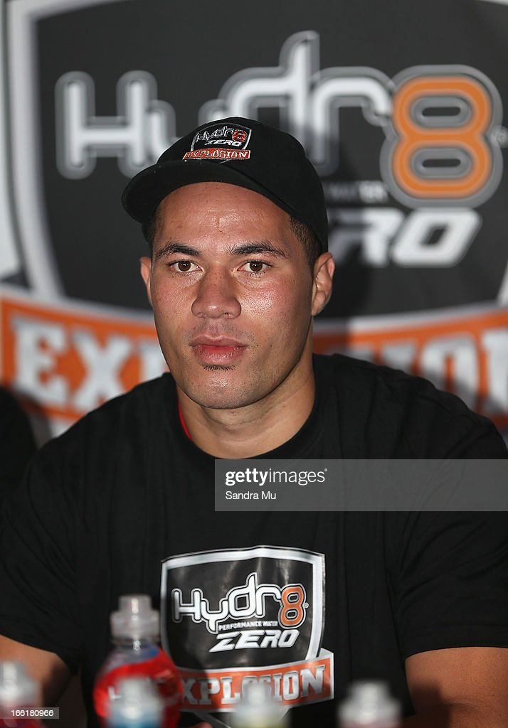 Boxer Joesph Parker addresses the media during the Hydr8 Zero Explosion Press Conference at Northern Steamship Bar on April 10, 2013 in Auckland, New Zealand.