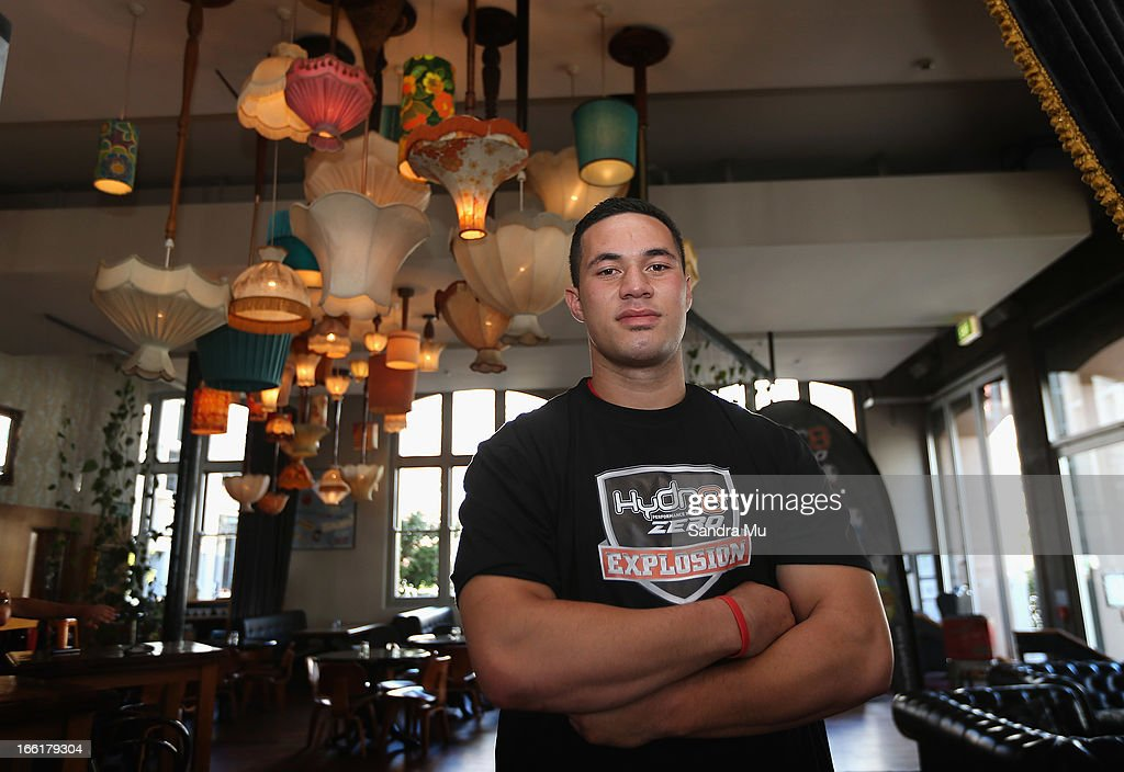 Boxer Joesph Parker poses during the Hydr8 Zero Explosion Press Conference at Northern Steamship Bar on April 10, 2013 in Auckland, New Zealand.