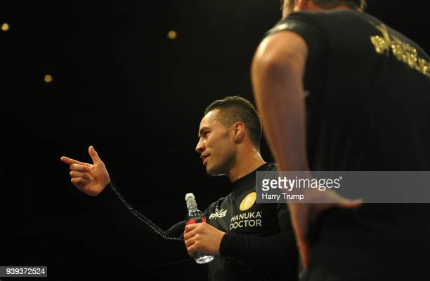 Boxer Joseph Parker gestures to the crowd during Anthony Joshua And Joseph Parker Media Workouts at St David's Hall on March 28 2018 in Cardiff Wales