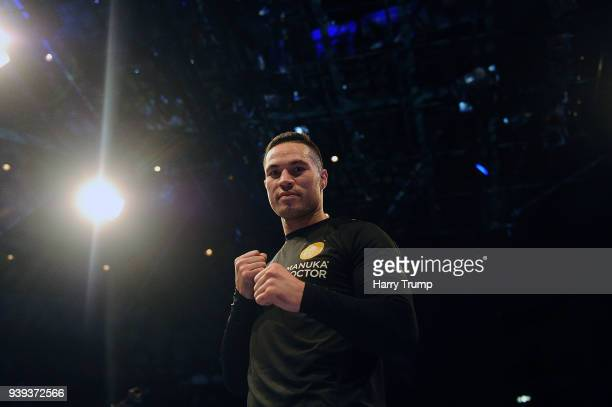 Boxer Joseph Parker poses during Anthony Joshua And Joseph Parker Media Workouts at St David's Hall on March 28 2018 in Cardiff Wales
