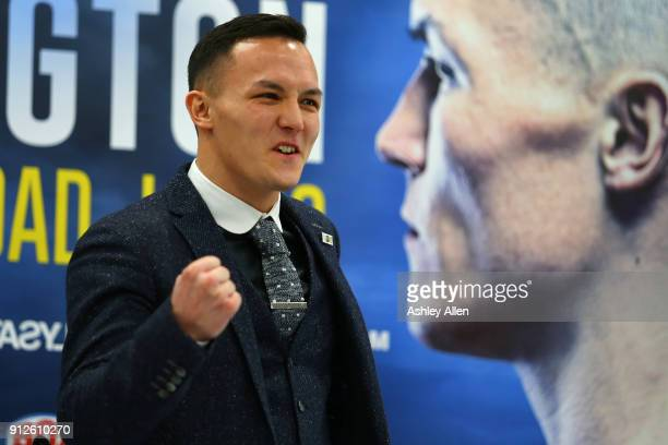Boxer Josh Warrington during the press conference in the Norman Hunter Suite at Elland Road on January 31 2018 in Leeds England
