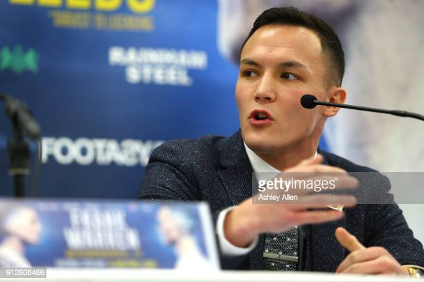 Boxer Josh Warrington makes a point during the press conference in the Norman Hunter Suite at Elland Road on January 31 2018 in Leeds England