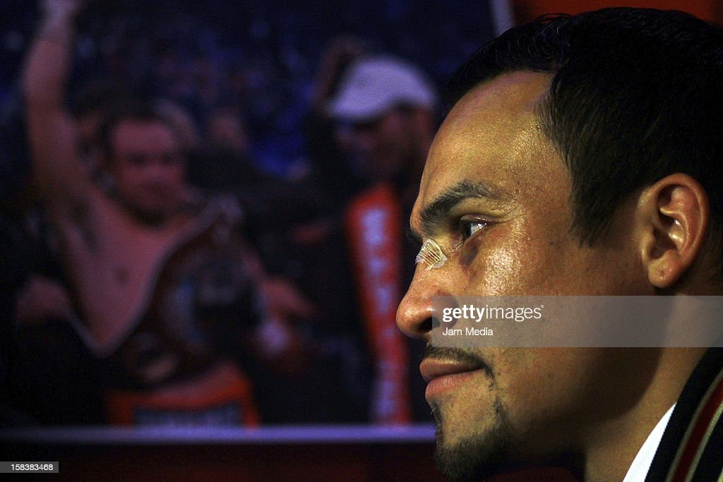 Boxer Juan Manuel Marquez during a press conference after his victory against Manny Pacquiao at Presidente Intercontinental Hotel on December 14, 2012 in Mexico City, Mexico.