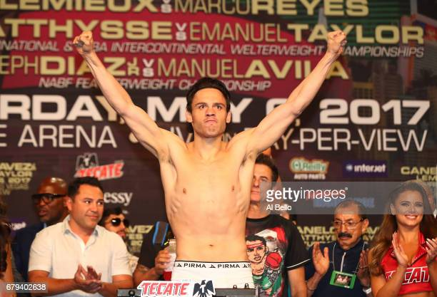 Boxer Julio Cesar Chavez Jr poses on the scale during his official weighin at MGM Grand Garden Arena on May 5 2017 in Las Vegas Nevada Chavez Jr will...