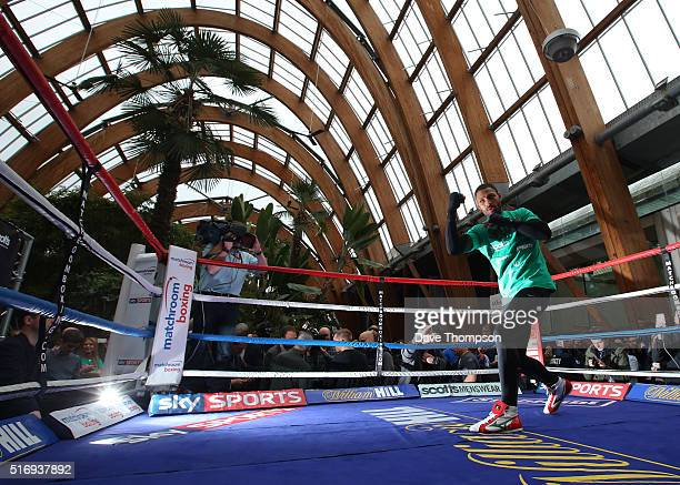 Boxer Kell Brook during a media work out at the Winter Gardens on March 22 2016 in Sheffield England