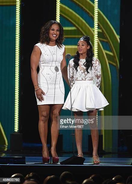 Boxer Laila Ali and Little League World Series pitcher Mo'ne Davis present an award onstage during the 2014 Soul Train Music Awards at the Orleans...