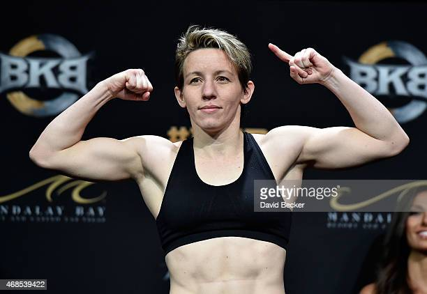 Boxer Layla McCarter appears during the BKB 2 weighin at the Mandalay Bay Events Center on April 3 2015 in Las Vegas Nevada McCarter will meet Diana...
