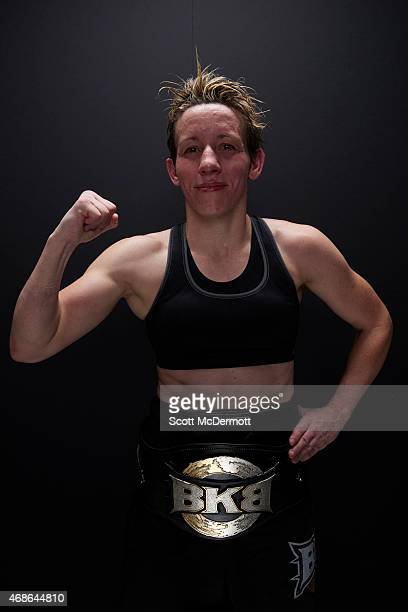 Boxer Layla McCarter poses for a portrait after his bout during BKB 2 Big Knockout Boxing at the Mandalay Bay Events Center on April 4 2015 in Las...