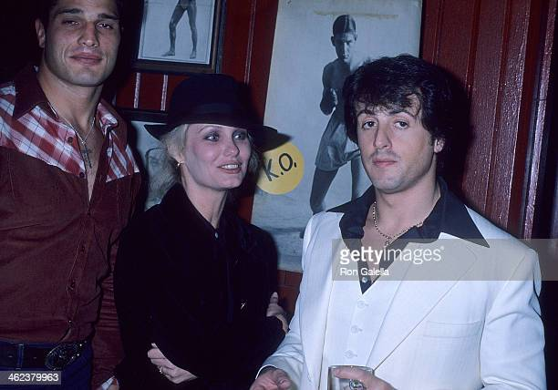 Boxer Lee Canalito actor Sylvester Stallone and date Joyce Ingalls attend the Paradise Alley Film WrapUp Party on February 11 1978 at Sound Stage 12...