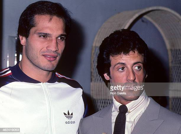Boxer Lee Canalito and actor Sylvester Stallone attend Lee Canalito and Curtis Whitner Press Conference/WeighIn for Heavyweight Boxing Match on July...