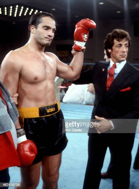 Boxer Lee Canalito and actor Sylvester Stallone attend the Lee Canalito vs Curtis Whitner Heavyweight Boxing Match on July 6 1982 at Sylvester...