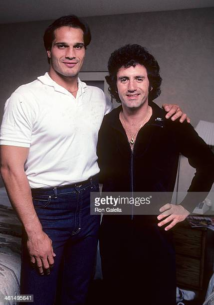 Boxer Lee Canalito and Frank Stallone on July 6 1982 in Lee Canalito's room at the Tropicana Hotel Casino in Atlantic City New Jersey
