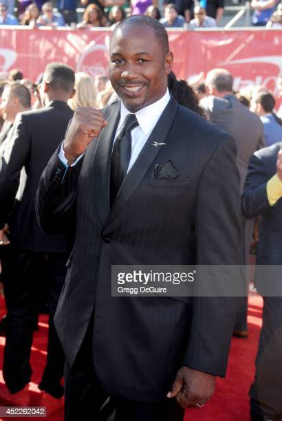 Boxer Lennox Lewis arrives at the 2014 ESPY Awards at Nokia Theatre LA Live on July 16 2014 in Los Angeles California