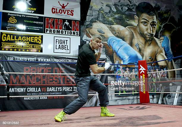 Boxer Liam Smith with during a media workout at the Gloves Community Centre on December 14 2015 in Bolton England Smith defends his World Junior...