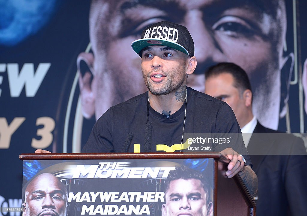 Boxer Luis Collazo speaks onstage during the undercard final press conference at the MGM Grand Hotel/Casino on May 1, 2014 in Las Vegas, Nevada.